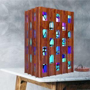 Lustre en bois motif mosaïque loft industriel acrylique boîte segment de trois couleurs