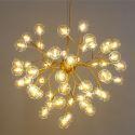 Lustre LED luciole en métal verre placage 5 modèles 2 couleurs pour salon salle à manger
