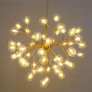 Lustre LED en métal verre D62cm placage 5 modèles 2 couleurs branche luciole pour chambre salle simple