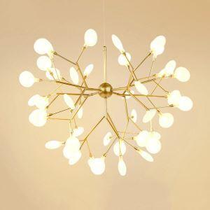 Lustre LED en métal verre D50cm placage 6 modèles 2 couleurs branche pour chambre salle simple