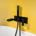 Robinet de baignoire et douchette à main noir élégant, montage mural