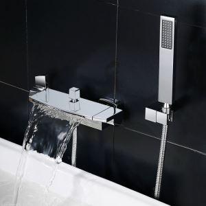Robinet de baignoire contemporaine en cascade avec douchette à main, 2 poignées, chrome /  noir