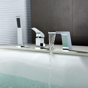 Robinet de baignoire cascade avec douchette à main en laiton massif, chromé