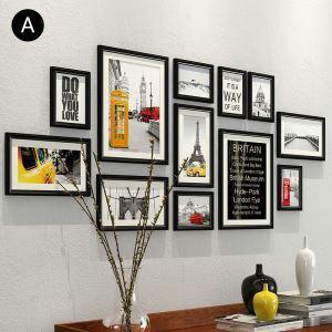 Cadre photo 12 vues en bois massif 7 modèles pour salle chambre