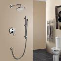 Colonne de douche rond à double fonctions fixé au mur avec douche à main, nickel brossé