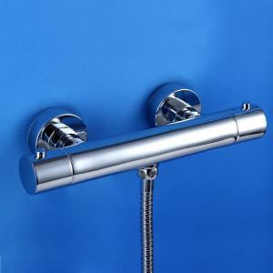 Vanne de douche rond thermostatique à 2 poignées, laiton massif