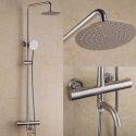 Colonne de douche thermostatique en acier inoxydable avec bec de baignoire, nickel brossé