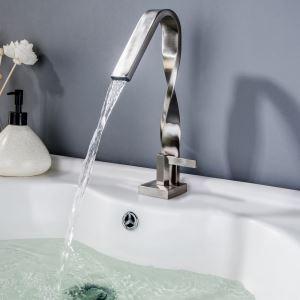Robinet de lavabo moderne en nickel brossé à un seul trou pour salle de bain