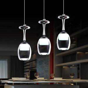 Suspension 3w x 3 lumières verre à vin tasse pour cuisine salon salle à manger pas cher