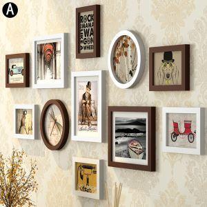 Cadre photo 11 vues en bois 8 modèles pour salle chambre rond