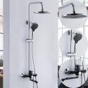 Colonne de douche avec robinetterie cuivre noir pour salle de bains