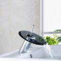 Mitigeur de lavabo cascade verre cuivre H17cm chromé pour salle de bain