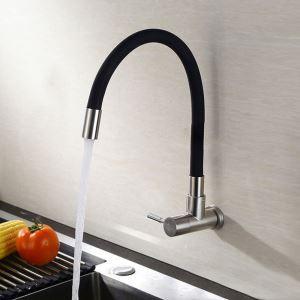 Robinet de cuisine eau froid acier inoxydable caoutchouc H33cm 2 poignées 2 sorties rotation libre