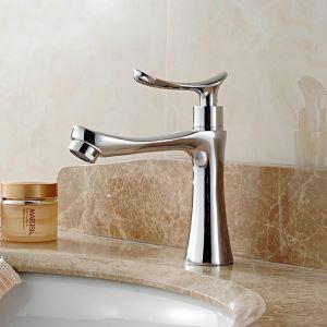 Robinet de lavabo eau froid cuivre H16cm chromé pour salle de bain