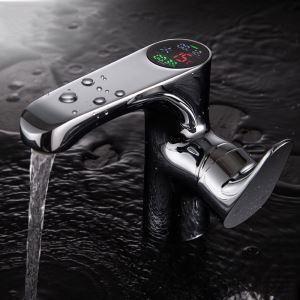 Mitigeur de lavabo cuivre affichage numérique H14cm or pour salle de bain chromé