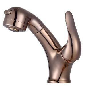 Mitigeur de lavabo avec buse démontable cuivre H18cm or rose