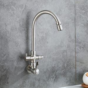Robinet de cuisine eau froid mural acier inoxydable H25cm rotatif plié avec interface à machine à laver