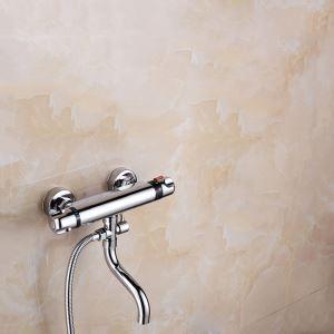 Corps de douche thermostatique avec sortie d'eau chromé