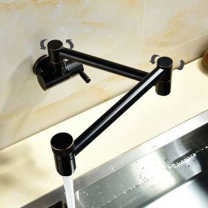 Robinet de cuisine eau froid mural cuivre H13.5cm rotatif plié rétro