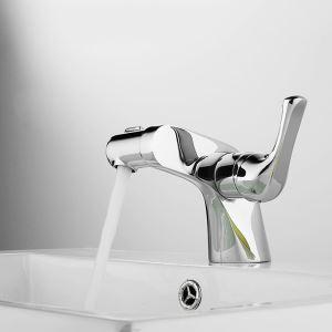 Mitigeur de lavabo cuivre H14.5cm chromé pour salle de bain