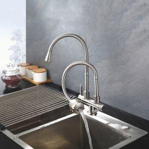 Robinet de cuisine eau froid mural acier inoxydable H34cm rotation libre 2 poignées 2 sorties