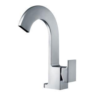 Mitigeur de lavabo cascade cuivre H26.6cm pour salle de bain chromé