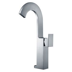 Mitigeur de lavabo cascade cuivre H36.5cm pour salle de bain chromé