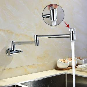 Robinet de cuisine eau froid mural cuivre H25cm rotatif plié chromé