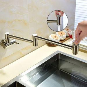 Robinet de cuisine eau froid mural cuivre H13.5cm rotatif plié brossé