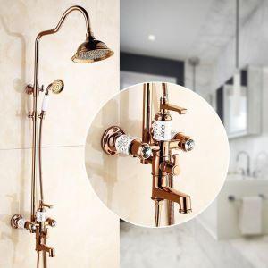 Colonne de douche avec robinetterie cuivre or rose pour salle de bains