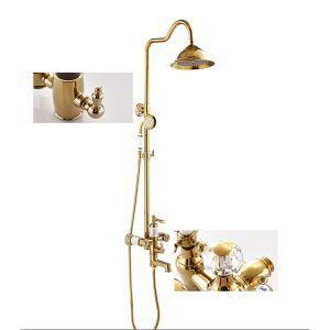 Colonne de douche avec robinetterie cuivre or pour salle de bains