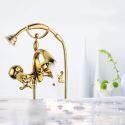 Mitigeur de douche à main cuivre 2 poignées or pour salle de bain