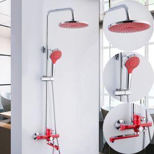 Colonne de douche avec robinetterie cuivre rouge pour salle de bains