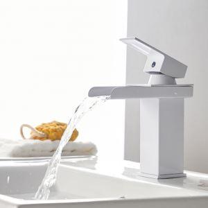 Mitigeur de lavabo cascade cuivre H17cm blanc pour salle de bain