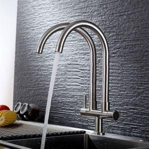 Robinet de cuisine eau froid mural acier inoxydable H38cm 2 poignées 2 sorties