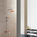 Colonne de douche avec robinetterie cuivre orangé pour salle de bains