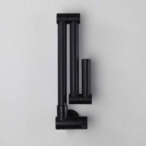 Robinet de cuisine eau froid mural cuivre H16cm rotatif plié noir
