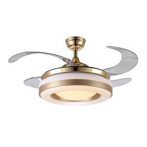 Suspension ventilateur LED en acrylique L108cm or blanc cercle pour salon
