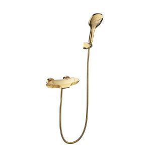 Colonne de douche avec robinetterie thermostatique cuivre or pour salle de bains