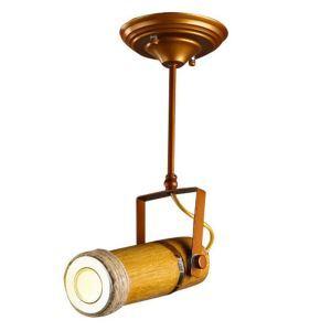 Projecteur à 1/2/3 spots en fer abat-jour en bambou style industriel pour bar café