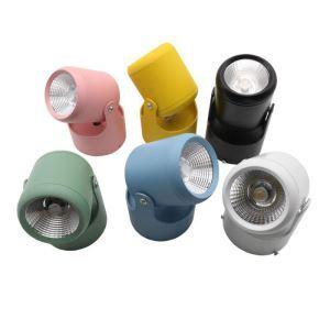 Projecteur LED rotatif en aluminium couleur de macaron pour couloir boutique