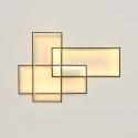 Plafonnier LED en acrylique L105cm 3 rectangles redoublés noir pour chambre salon