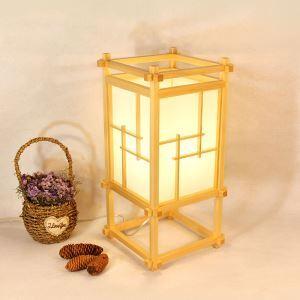 Lampe à poser style japonais en bois massif H50cm pour salon chambre à coucher