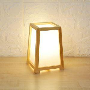 Lampe de table simple moderne veilleuse en bois massif pour chambre à coucher salle