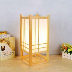 Lampe à poser en bois massif H43cm style japonais simple pour hôtel chambre à coucher