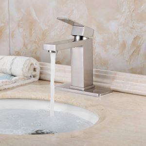 Robinet monotrou moderne pour lavabos en nickel brossé