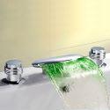 Mitigeur de baignoire LED cassade laiton H4.5cm 2 poignées chromé 3 modèles pour salle de bains