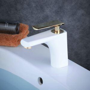 Mitigeur de lavabo laiton blanc brillant poignée or H 15.5 cm pour salle de bains
