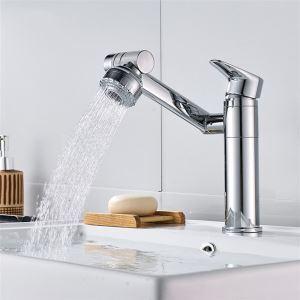 Robinet de lavabo contemporain en laiton massif, chrome/blanc/noir à rotation libre
