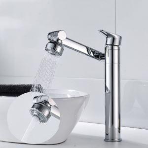 Robinet de lavabo rotatif en laiton massif, chrome/blanc/noir